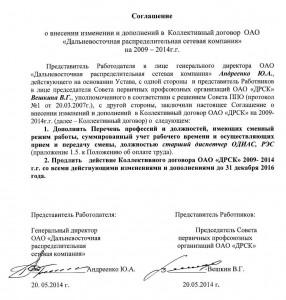 Внесение изменений в коллективный договор ДРСК и его продление от 20.05.2014